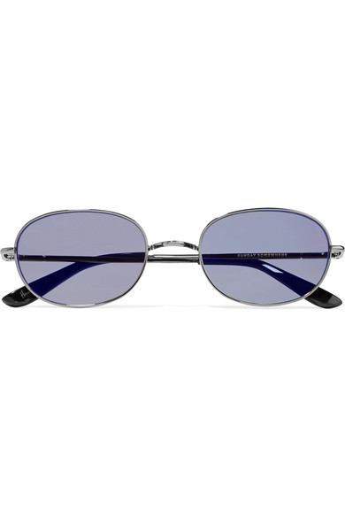 SUNDAY SOMEWHERE Wilder Oval-Frame Gunmetal-Tone Mirrored Sunglasses in Silver