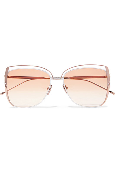 SUNDAY SOMEWHERE Poppy D-Frame Rose Gold-Tone Sunglasses in Peach