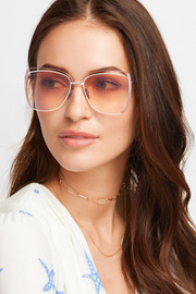 Poppy D-frame rose gold-tone sunglasses