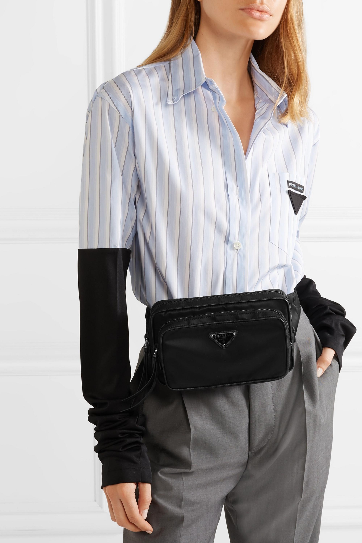 Prada Leather-trimmed shell belt bag