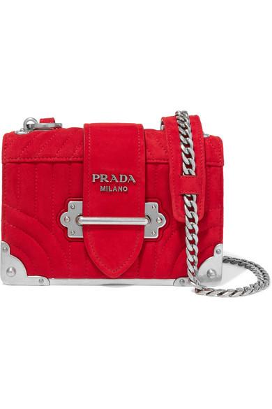 3ee216cc5b63 Prada | Cahier mini quilted suede shoulder bag | NET-A-PORTER.COM