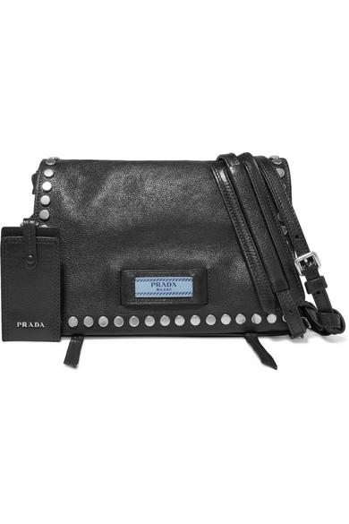 6d904d89de0e new zealand prada etiquette small studded textured leather shoulder bag  4cb20 5b4ad