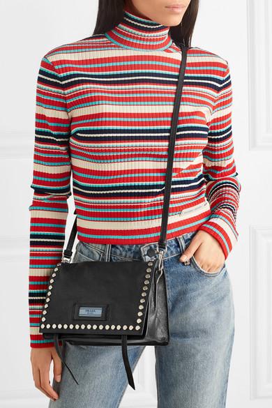 2083e7f19e Prada | Sac porté épaule en cuir texturé à clous Etiquette Small ...