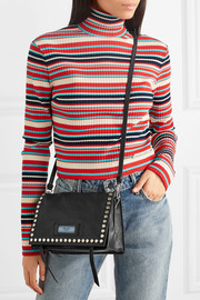 Etiquette small studded textured-leather shoulder bag
