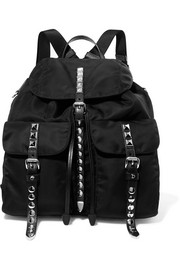 Studded leather-trimmed shell backpack