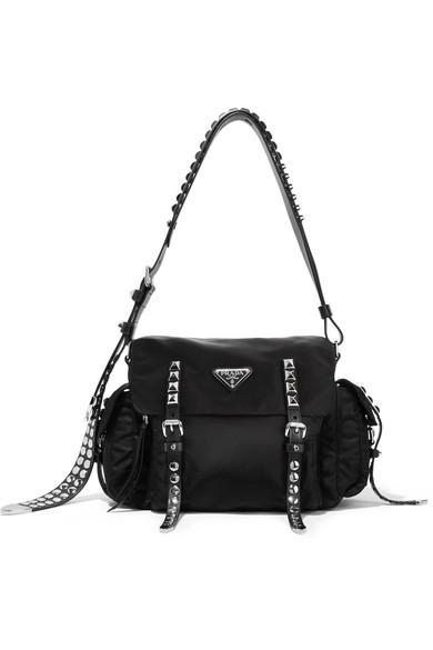4c927ceb1ab2 Prada | Studded leather-trimmed shell shoulder bag | NET-A-PORTER.COM