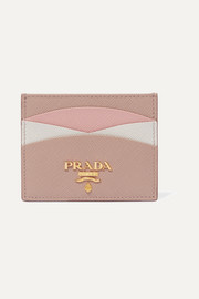Prada Color-block textured-leather cardholder