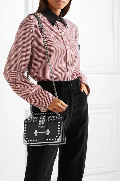 f8b6b49c8994 Prada | Cahier studded leather shoulder bag | NET-A-PORTER.COM