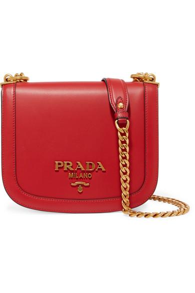 Prada - Pionnière Leather Shoulder Bag - Red