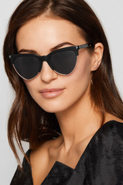 Cat-eye acetate and rose gold-tone sunglasses