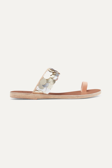 Thraki embellished canvas and leather sandals