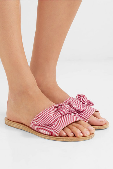 Taygete Bow Embellished Gingham Cotton Slides by Ancient Greek Sandals