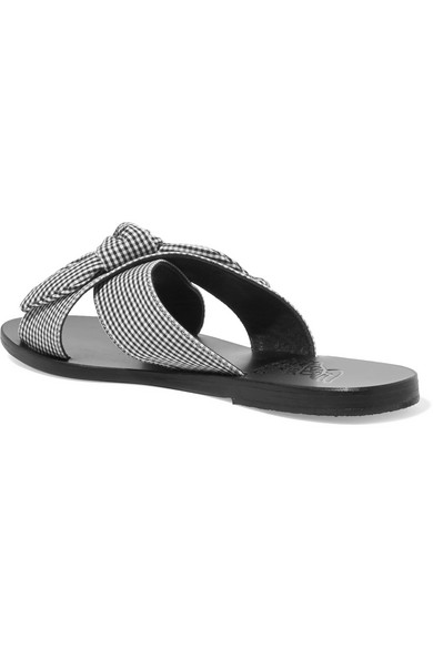 Ancient Greek Sandals Thais Bow-embellished Gingham Cotton Slides Clearance Good Selling Buy Cheap The Cheapest Outlet Factory Outlet Clearance Store Cheap Online 3CDCTOx8vm