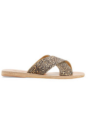 Ancient Greek Sandals Thais leopard-print satin and leather slides