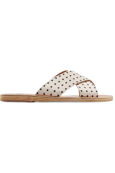 Ancient Greek Sandals Satin | Thais Pantoletten aus mattem Satin Sandals mit Polka-Dots 7a5d96