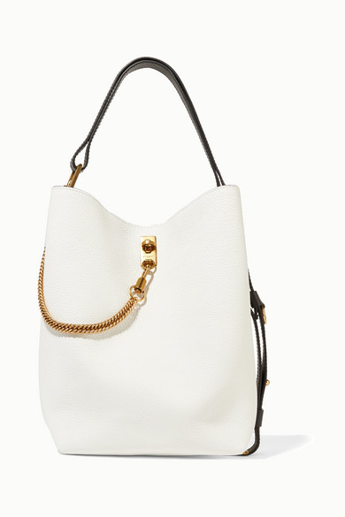 Gv Bucket Textured-Leather And Suede Shoulder Bag in White