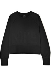 Versa cropped embossed jersey sweatshirt