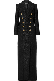 Balmain Metallic wool-blend tweed coat