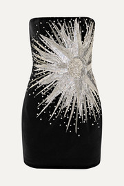 Balmain Strapless embellished cotton-velvet mini dress