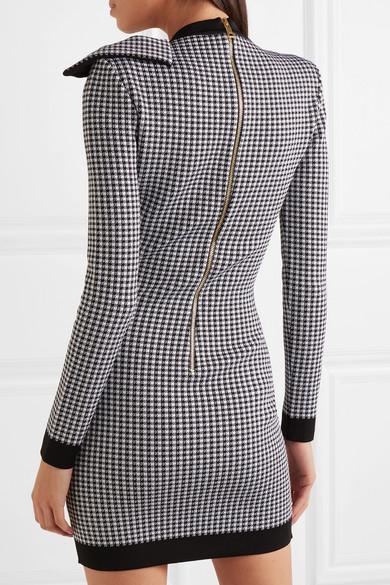 07b58184 Balmain | Bow-embellished gingham stretch-knit mini dress | NET-A ...