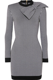 Balmain Bow-embellished gingham stretch-knit mini dress