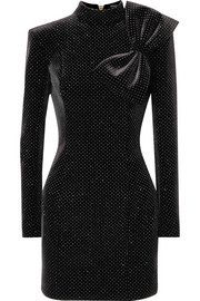Balmain Bow-detailed glittered stretch-velvet mini dress