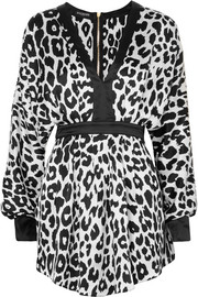 Balmain Leopard-print silk-satin mini dress