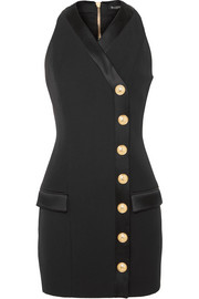 Balmain Button-detailed satin-trimmed grain de poudre wool mini dress