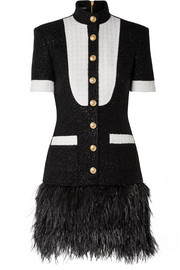 Balmain Feather-trimmed metallic wool-blend tweed mini dress