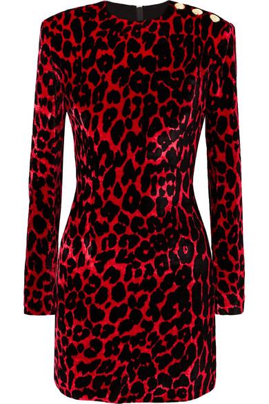 Button-Embellished Leopard-Print Velvet Mini Dress, Red