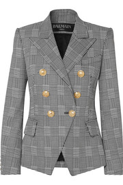 Double-breasted Prince of Wales checked cotton-blend blazer