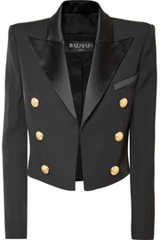 Balmain Cropped satin-trimmed wool blazer