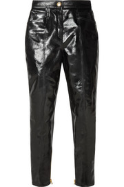 Balmain Coated cotton-blend slim-leg pants
