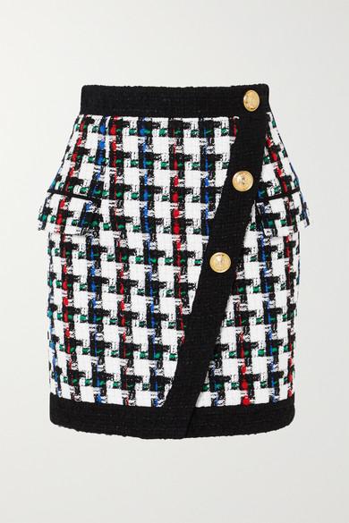 88e3786e Balmain | Button-embellished tweed mini skirt | NET-A-PORTER.COM