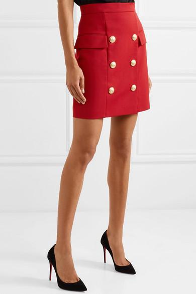 Button Embellished Wool Piqué Mini Skirt by Balmain