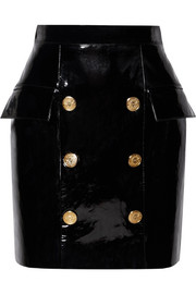 Button-embellished patent-leather mini skirt