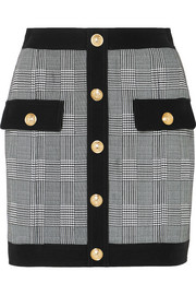 Balmain Button-embellished Prince of Wales checked cotton-blend mini skirt