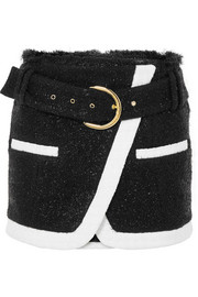 Balmain Wrap-effect metallic wool-blend bouclé mini skirt