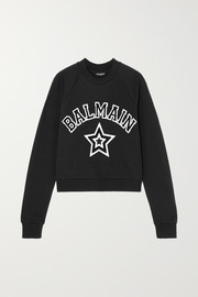 Balmain Cropped appliquéd cotton-jersey sweatshirt
