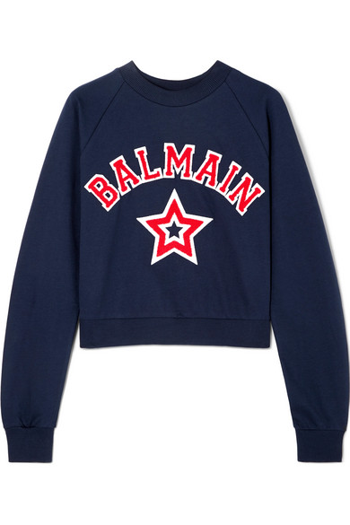 Cropped Appliquéd Cotton Jersey Sweatshirt by Balmain