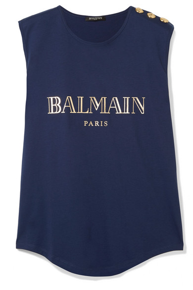 Button Embellished Printed Cotton Jersey Tank by Balmain