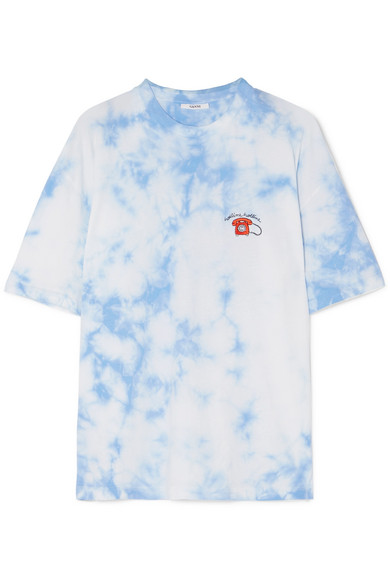 Ginsbourg Verbena Embroidered Tie Dyed Cotton Jersey T Shirt by Ganni