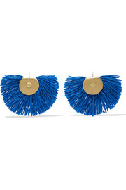 Fan fringed gold-tone earrings