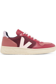 V-10 leather, suede and tweed sneakers