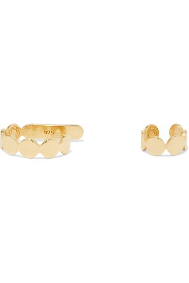 SASKIA DIEZ PAILLETTES SET OF TWO 18-KARAT GOLD-PLATED EAR CUFFS