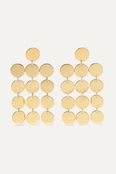 SASKIA DIEZ PAILLETTES CHANDELIER 18-KARAT GOLD-PLATED EARRINGS