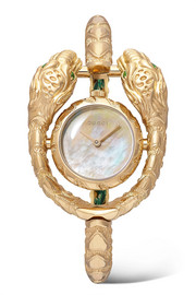 Gucci Dionysus 23mm 18-karat gold, tsavorite and mother-of-pearl watch
