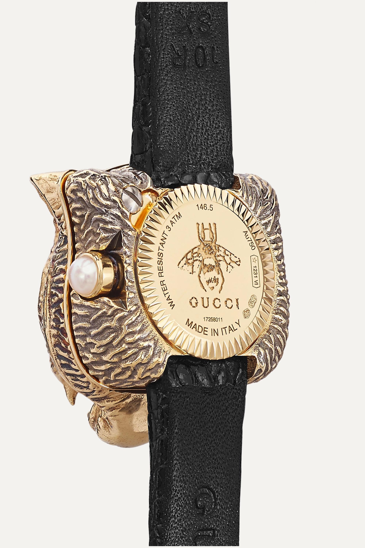 Gucci Le Marché des Merveilles Secret 8mm 18-karat gold, lizard, diamond and mother-of-pearl watch