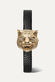 Gucci Le Marché des Merveilles Secret 8mm 18-karat gold, lizard, diamond and mother-of-pearl watch
