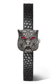 Gucci Le Marché des Merveilles Secret 8mm silver and lizard multi-stone watch